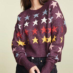 Wildfox NEW L Crop Sweater Rainbow Stars NWOT